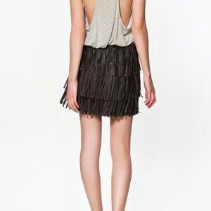 Zara Genuine Leather Fringed Mini Skirt